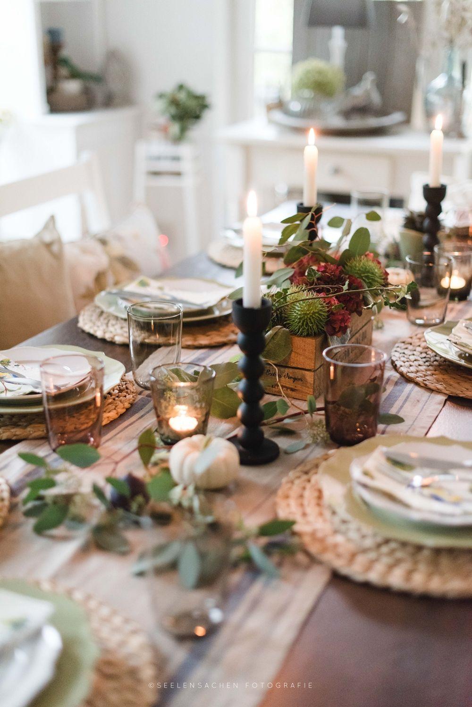 Herbstbeginn und wieder ein jahr reifer tisch deko - Herbst dekoration tisch ...