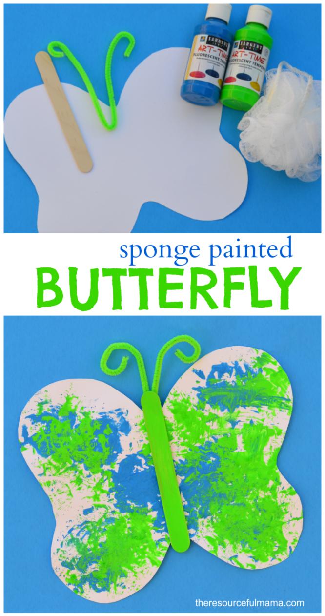 sponge painted butterfly craft for kids loofah sponge butterfly
