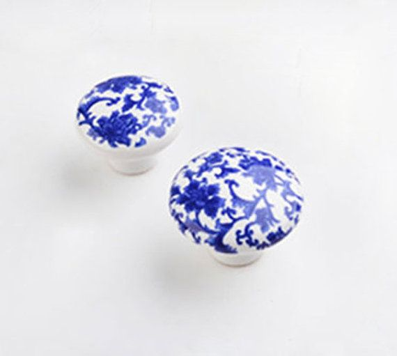 Blue And White Porcelain Cabinet Knobs And Pulls   Pastoralism Furniture  Accessories /Ceramic Knobs /