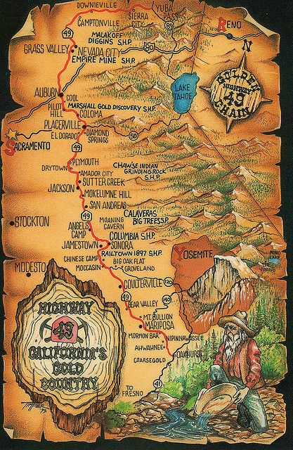 CA Gold country map Country maps Gold and Gold rush