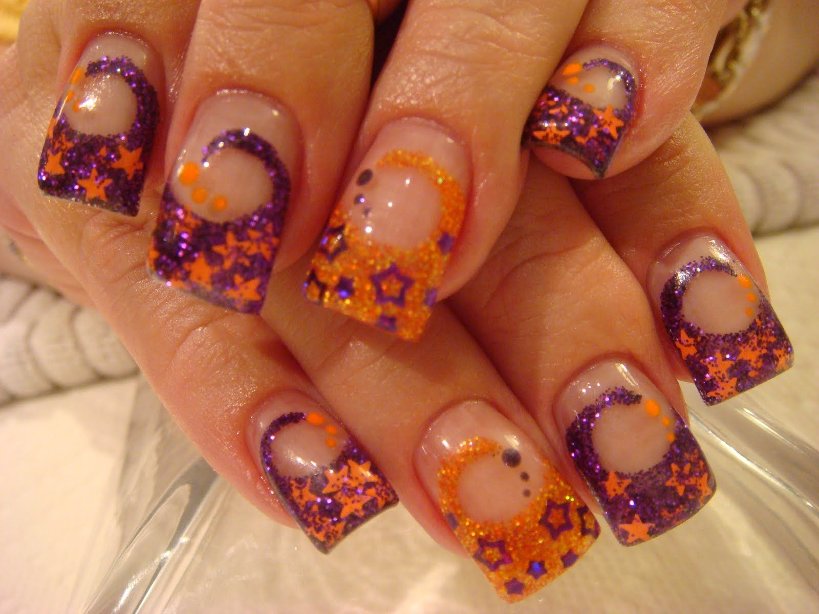 Purple and Orange Halloween Swirl Acrylic Nails ...