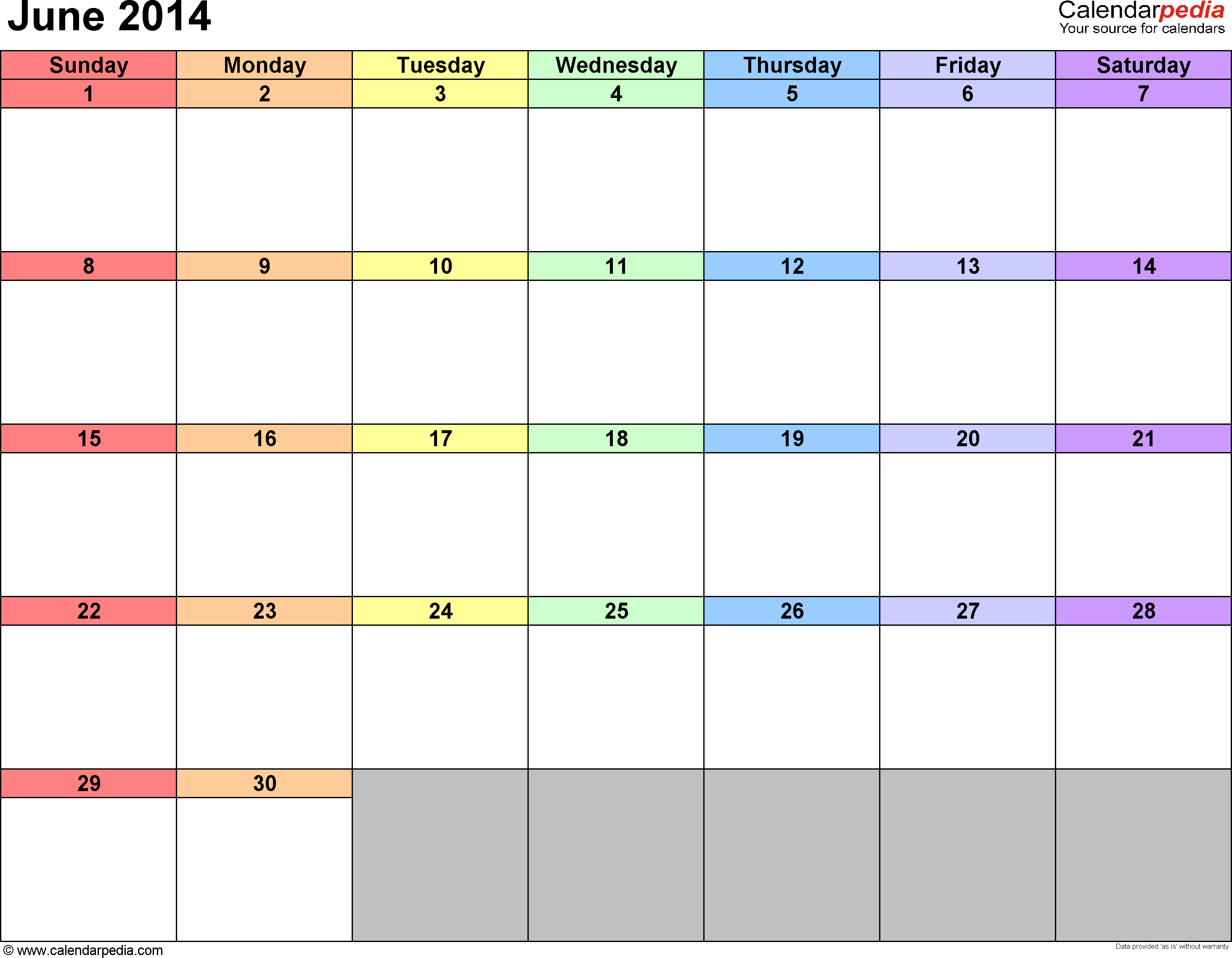 June 2014 Calendar With Holidays June 2014 Calendar Free