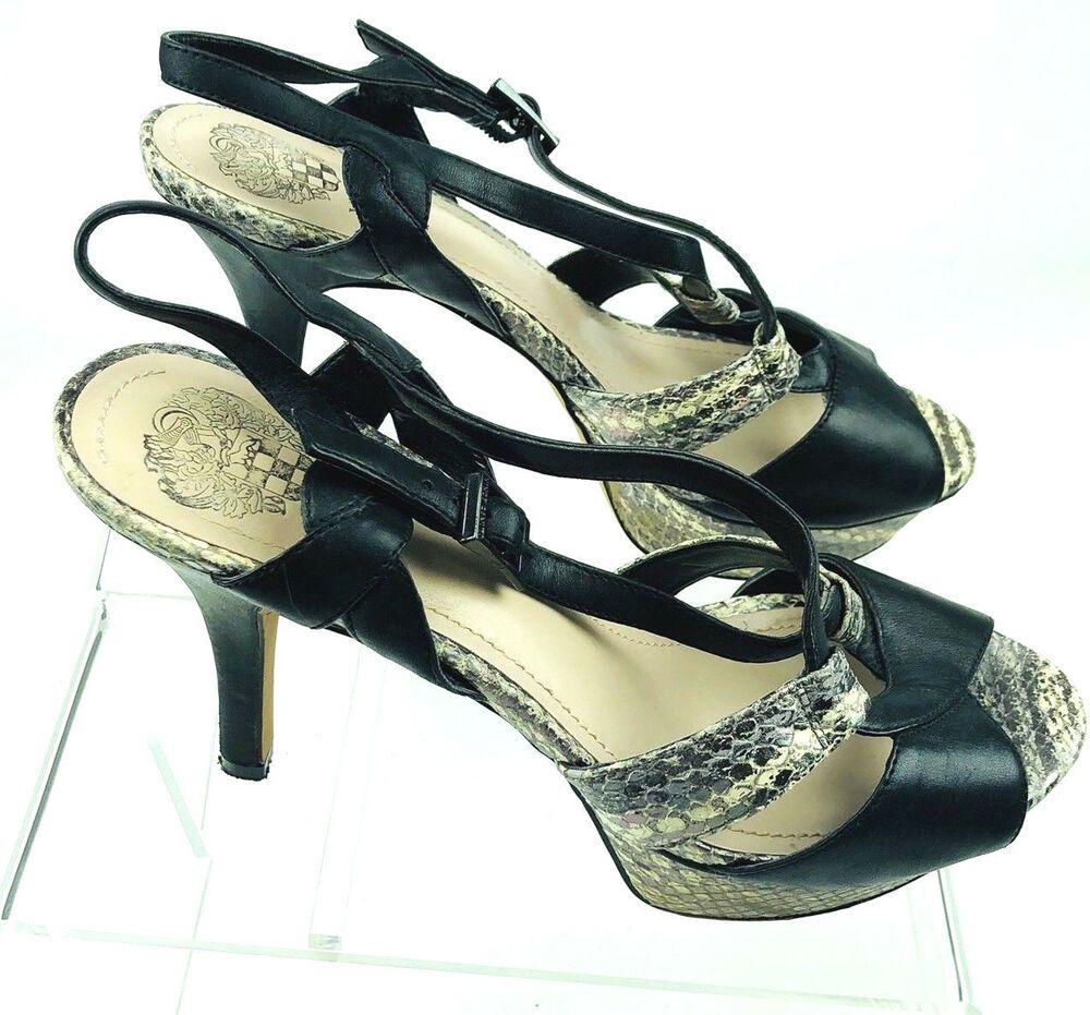 8ad5c4b6ddda Vince Camuto Padrita Platform Snake Print Black Sz 9 Heels 39 Euro Open Toe   VinceCamuto  Paltformopentoe  Casual