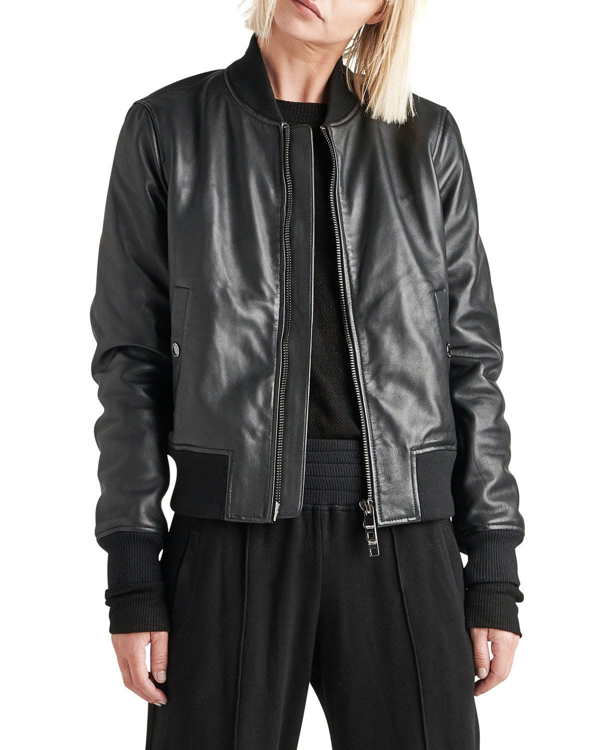ZipFront Leather Bomber Jacket Bomber jacket, Jackets