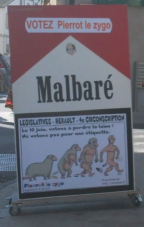 """Humour lors de la campagne 2012 des législatives !!!  """"sur le marché de Lodève 34Hérault 4e, votons à perdre la laine""""envoyé par pierrot le zygo"""