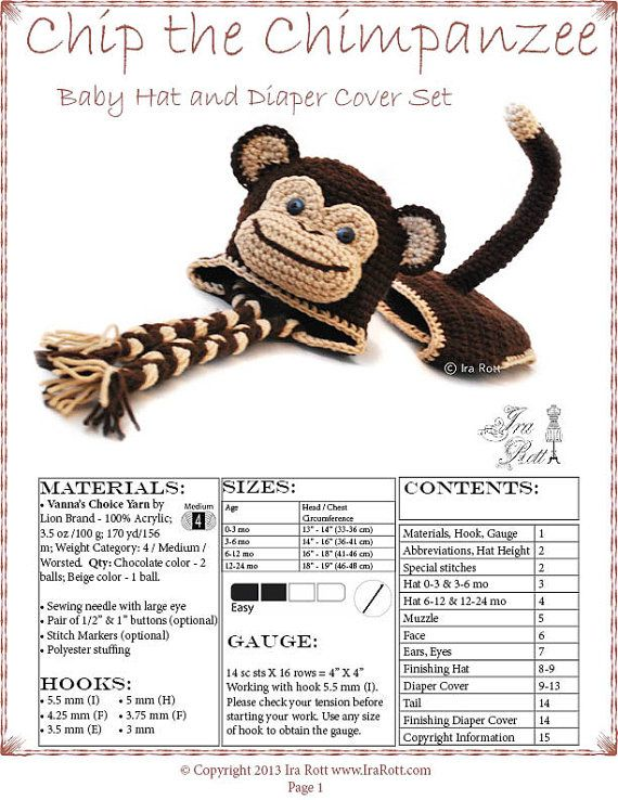 Crochet Pattern Chip The Chimpanzee Monkey Baby Hat And Diaper Cover
