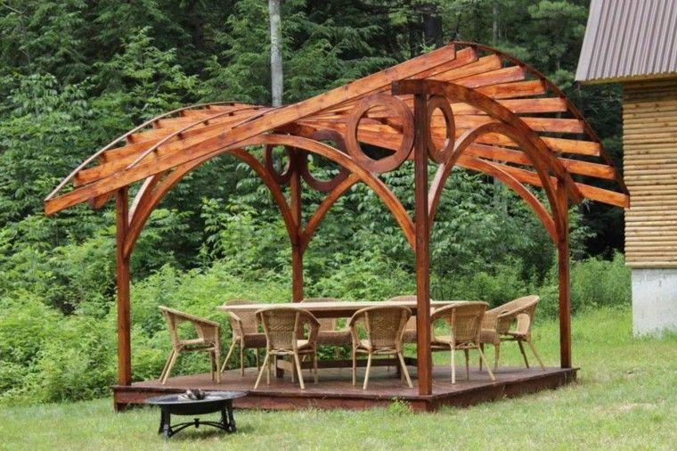 original diseo pergolas de madera jardin
