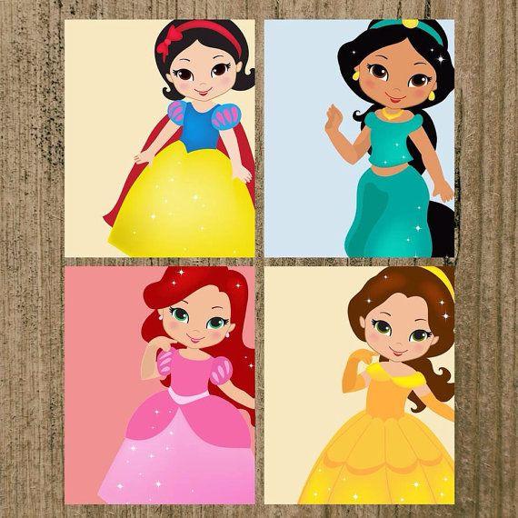 Disney Princess Nursery Prints Set of 4 8x10 Wall Decor on Etsy ...