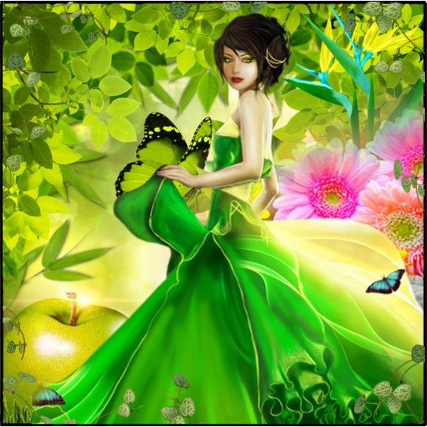 Green Fantasy by faby1817 on Polyvore featuring sanat