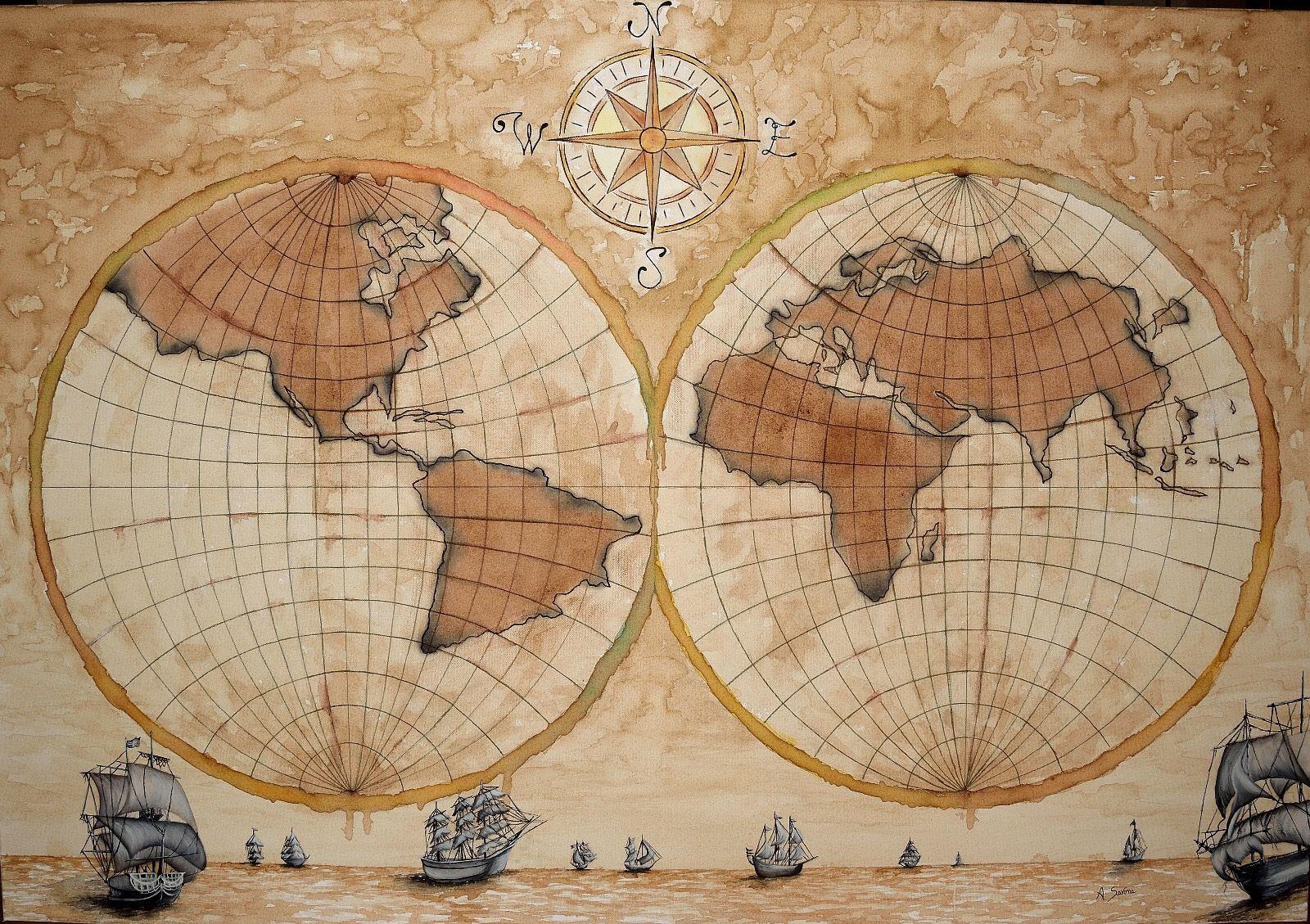 Cartina Antica Mondo.Autrice Antonella Savona Titolo Mondo Antico Dimensioni 130x90 Il Quadro Rappresenta Una Vecchia Cartina Geografica In Cui E Geografia Mondo Vintage Geografia