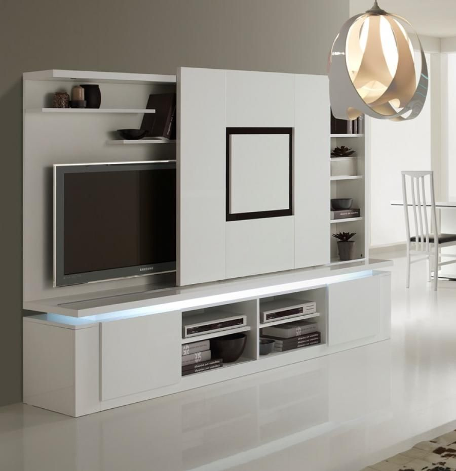 Dalia, Modern TV Wall Unit With Black Or Walnut Effect Detail In White  Lacquer/