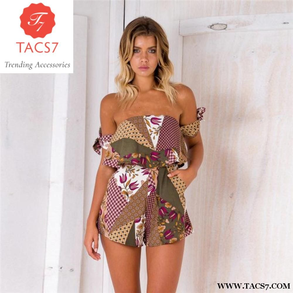 6b4d5406627 Summer 2018 Sexy V Neck Halter Strap Playsuit Bohemian Beach Casual Rompers  Womens Jumpsuit Short Loose