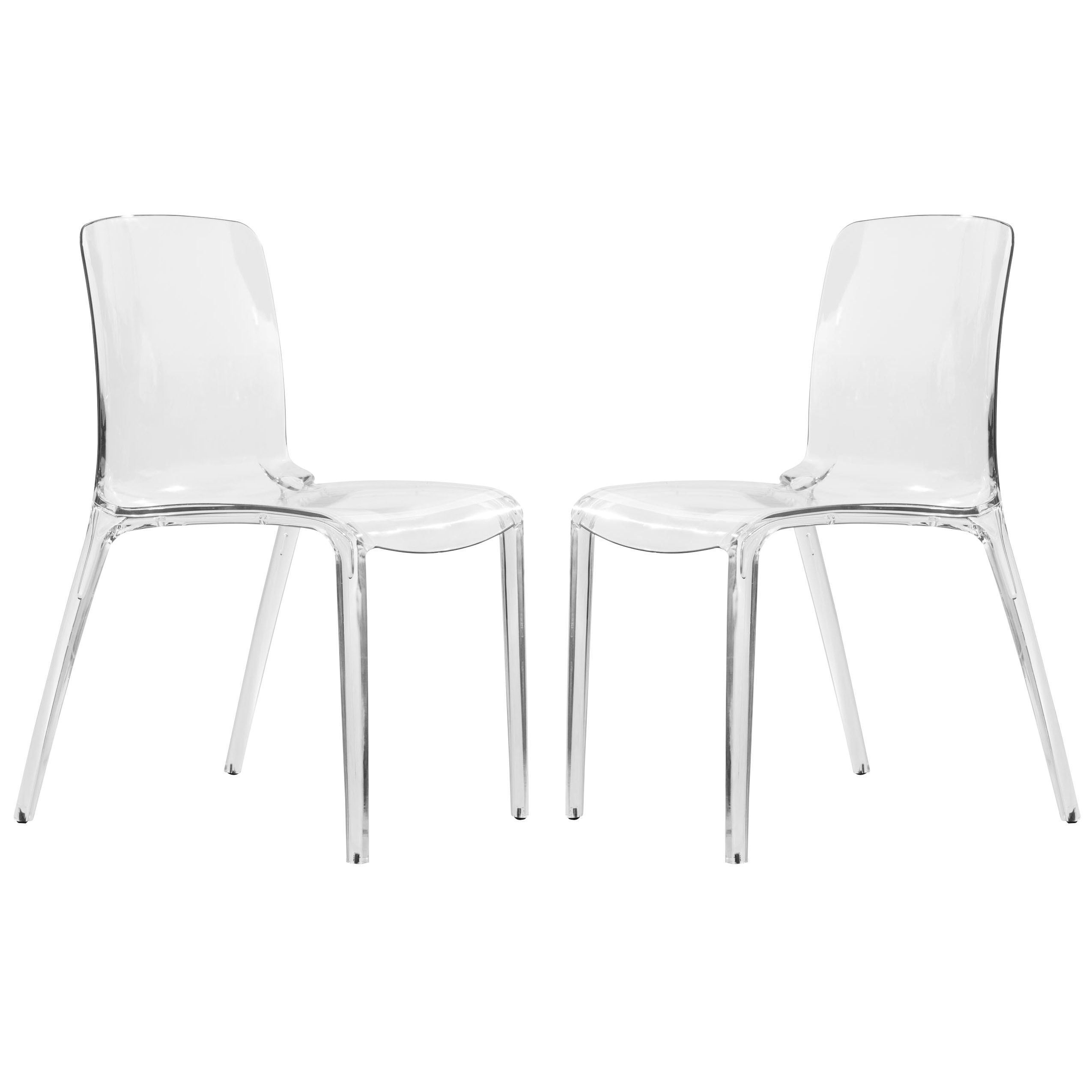LeisureMod Laos Clear Modern Dining Chair Set of 2 by LeisureMod
