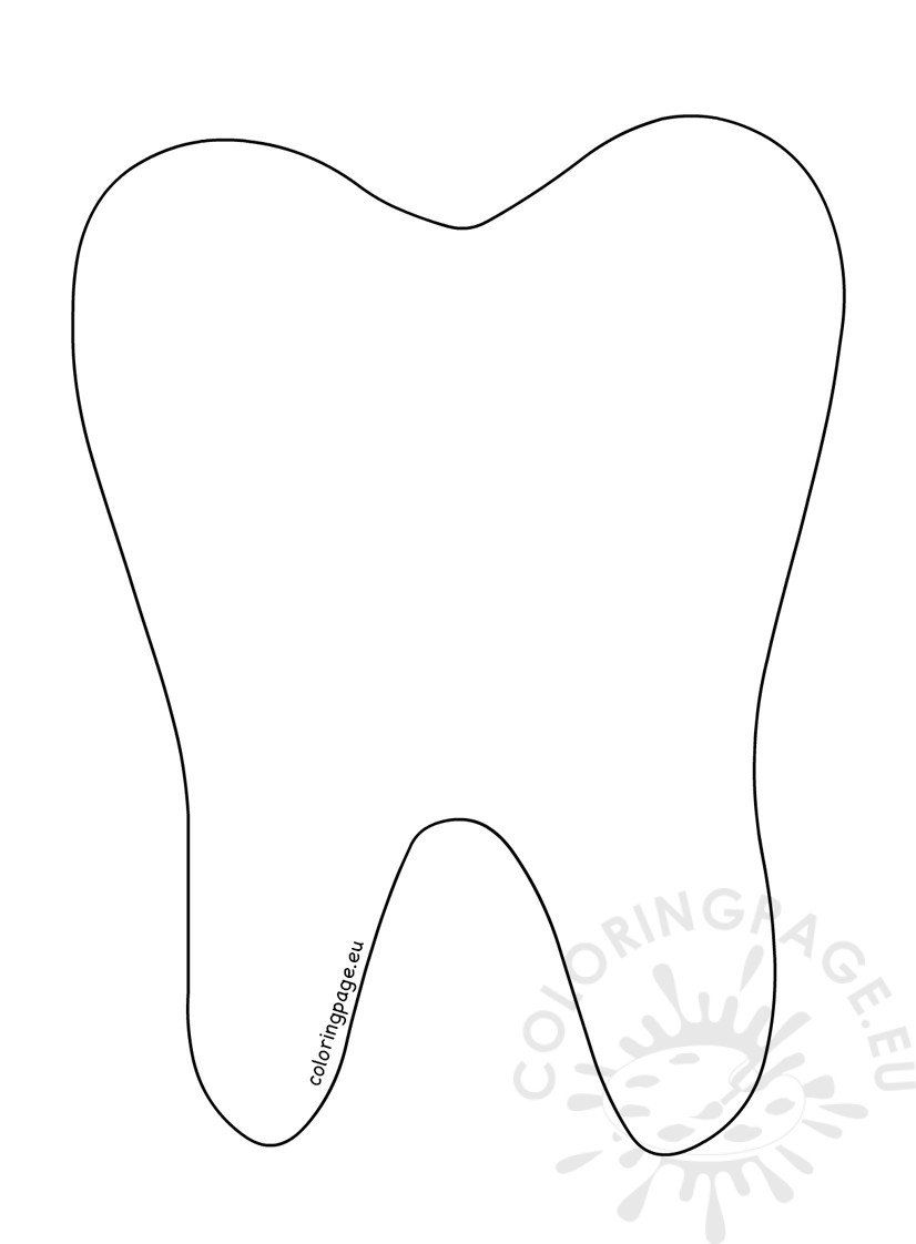 Tooth Coloring Pages Tooth Template Tooth Coloring Pages In