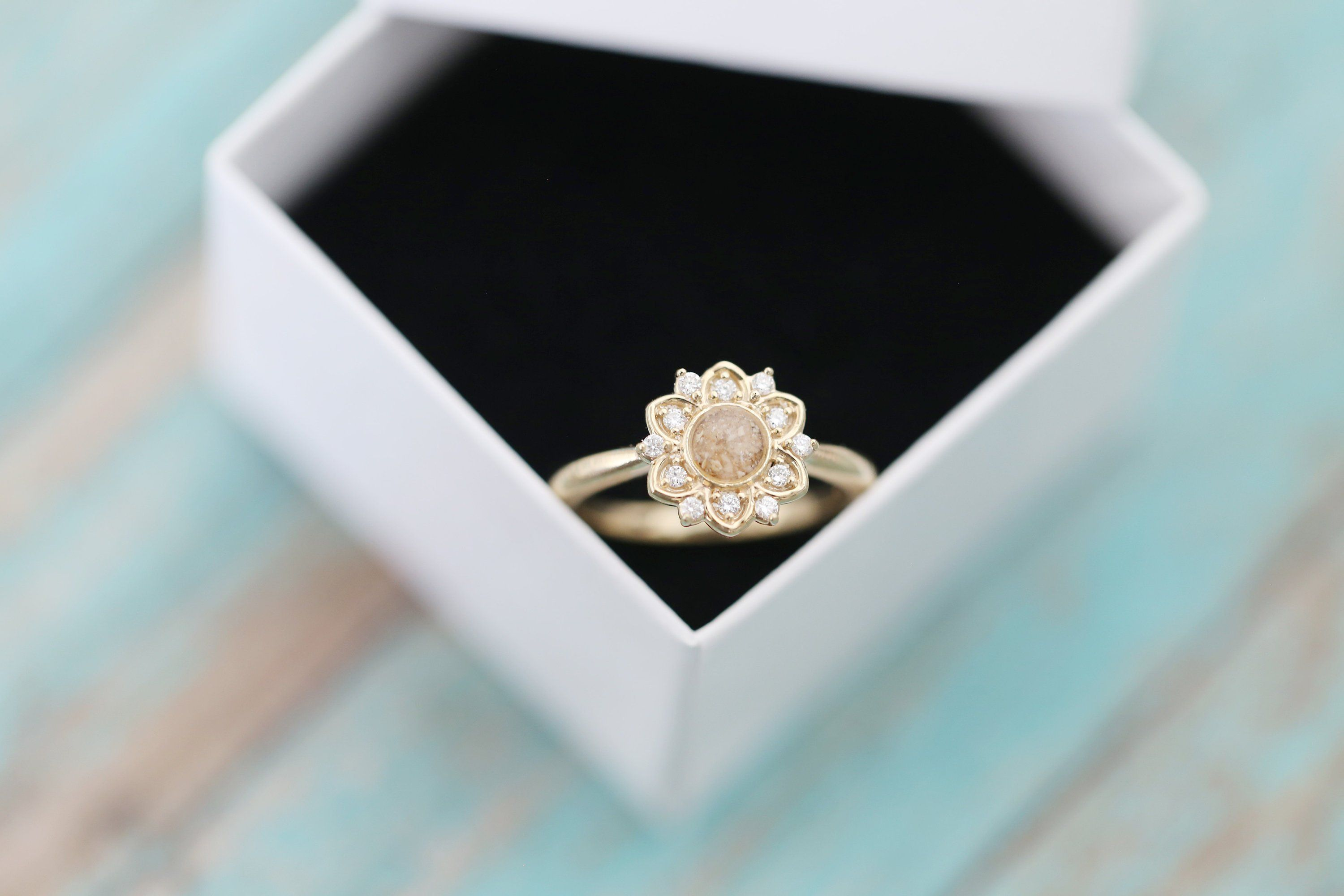 14k Yellow Gold Diamond Flower Stacking Cremation Ring Ashes Jewelry Memorial Jewelry Ashes Jewelry