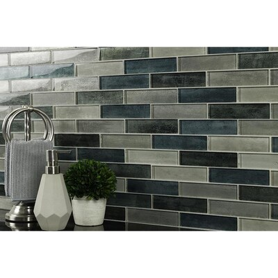 Elida Ceramica Emerald Isle Glass 12 In X 12 In Glossy Glass Linear Mosaic Wall Tile Lowes Com In 2020 Mosaic Wall Tiles Mosaic Wall Wall Tiles