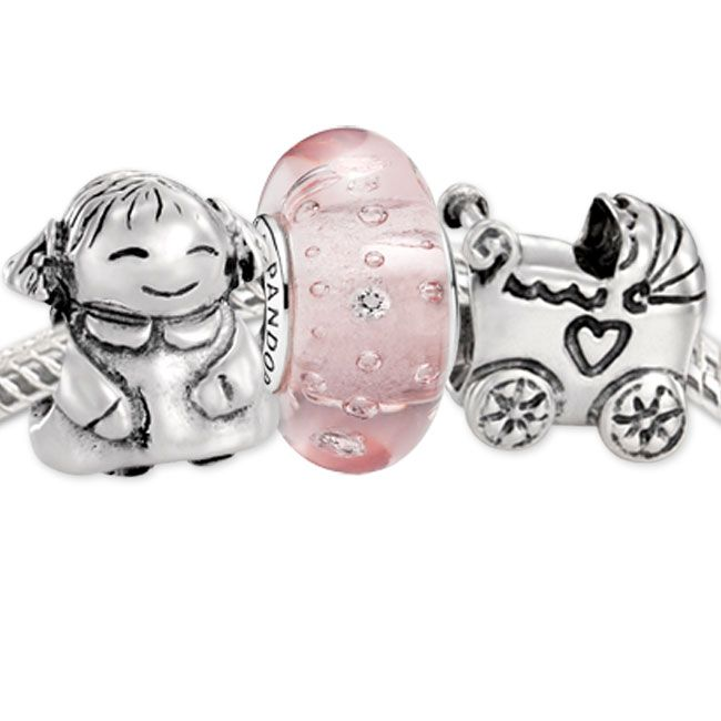 Authentic 925 Sterling Silver Charms and Murano Glass Bead Set Fits  European Pandora Jewelry Charm Bracelets- Bouncing Baby Girl Set