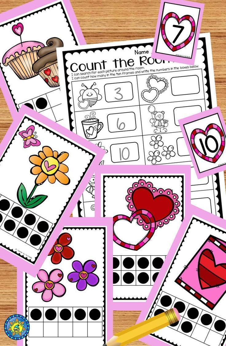 Get your little ones moving around the room to find the pictures, count the ten frames, and write the numbers! Interactive Valentines Day learning fun!