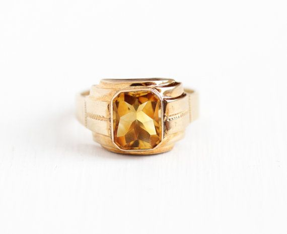 Vintage 10k Rosy Yellow Gold Art Deco Citrine Ring 1930s Size 10 1 4 Men 39 S Yellow Orange Gemstone November Birthst Gold Art Deco Gold Art Orange Gemstone