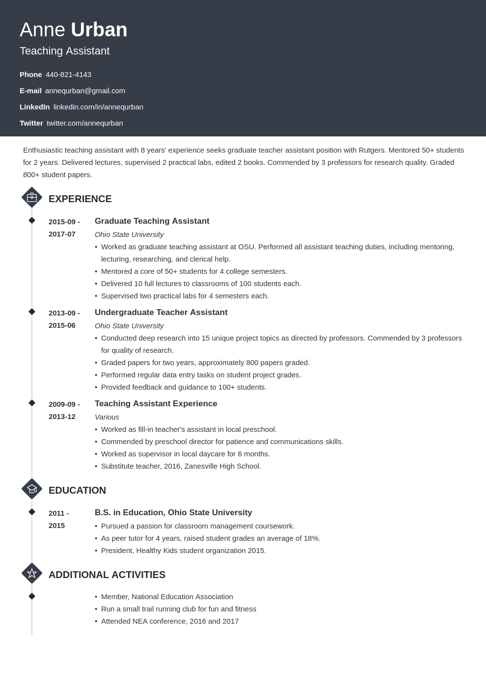 teaching assistant resume example template diamond in 2020