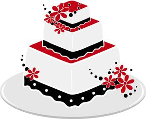 Wedding Cake Clipart Image A Red And Black Square With Flowers