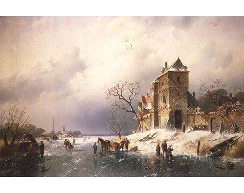 Gerahmtes Poster Frozen Winter Scene, 19th Century von Charles-Henri-Joseph Leickert East Urban Home Größe: Mittel