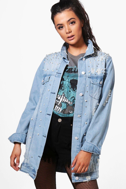 Judy Pearl Distressed Longline Denim Jacket Boohoo Longline Denim Jacket Denim Jacket Jackets [ 1500 x 1000 Pixel ]