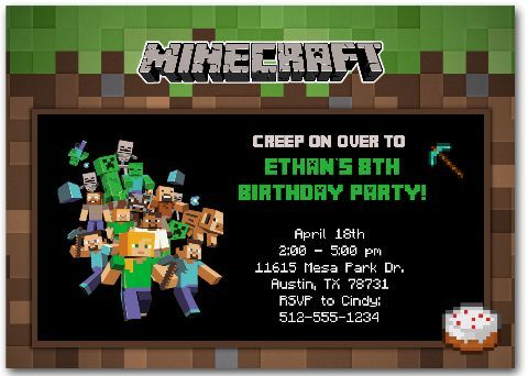 Minecraft Invitation Custom Minecraft Invitations