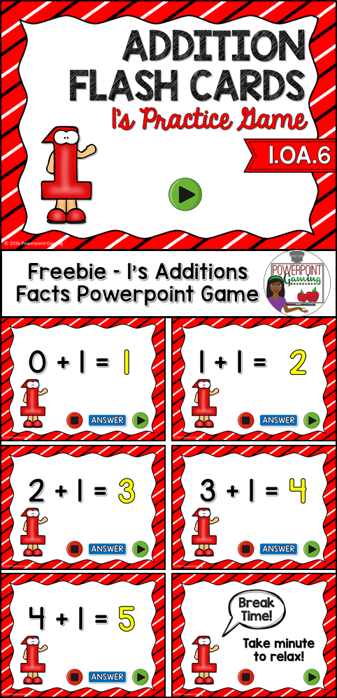 Students practice their 1\'s addition facts. This powerpoint game ...