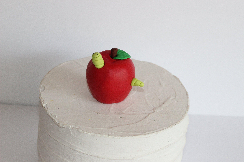 Fondant Apple and an Inchworm Cake Topper Preschool Back ...