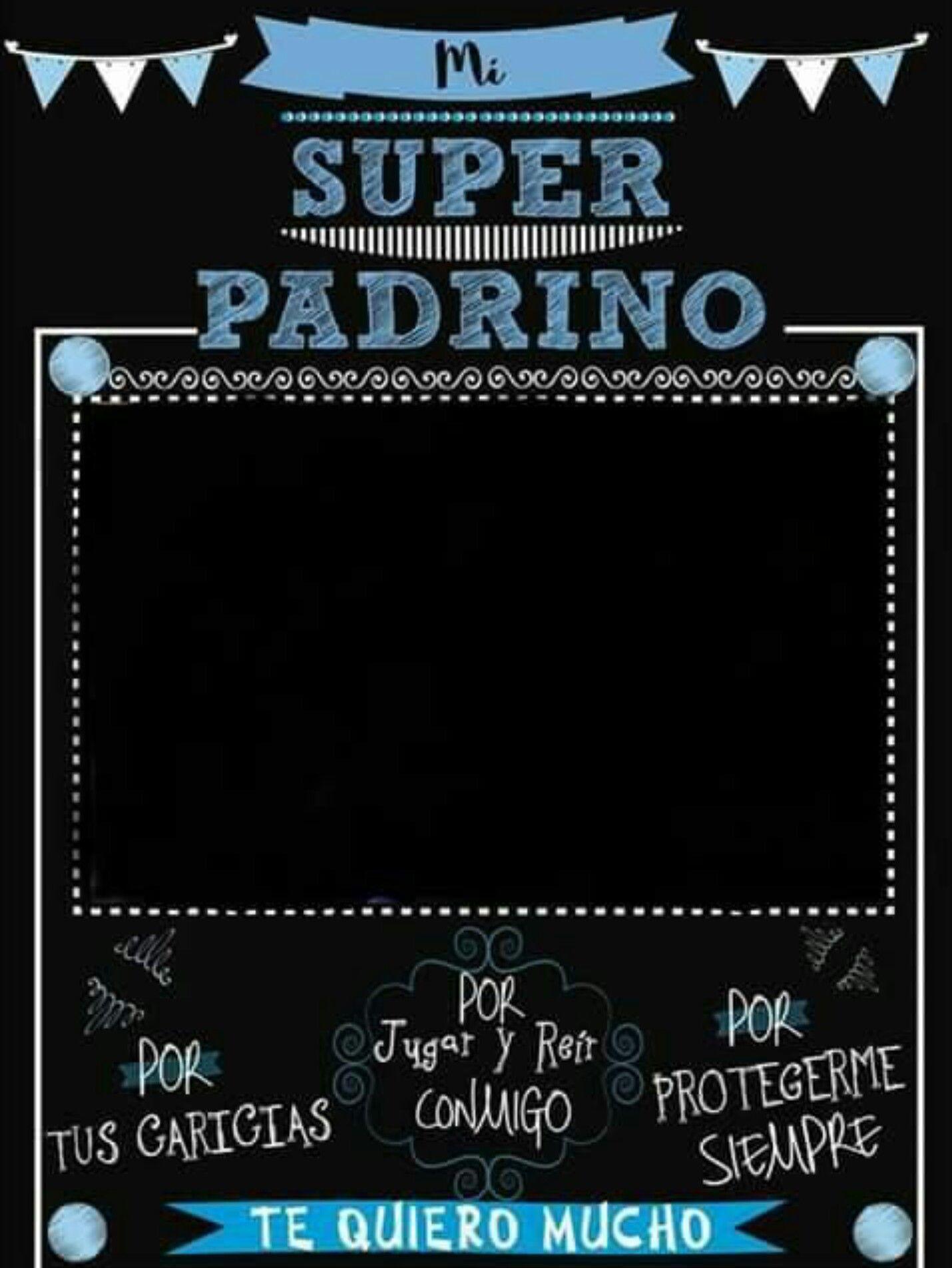 Mi Super Padrino Azul Negro Blanco Invitaciones Pinterest