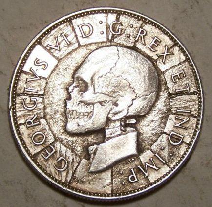 JOHN HUGHEY HOBO COIN - CANADIAN HALF DOLLAR SKULL | Skulls
