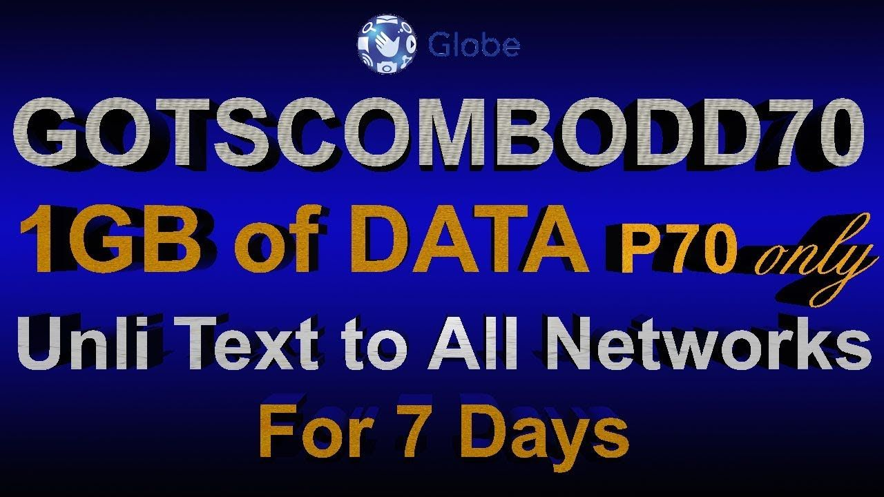 Gotscombodd70 P70 Pesos Only 1gb Data Internet Unlimited Text To A Data Text Networking