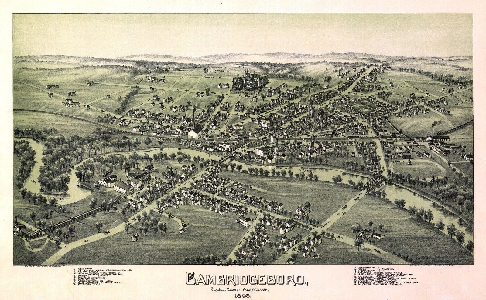 Antique Old Map Of Cambridge Springs 1895 Ebay Panoramic Map Vintage Maps Art Birds Eye View Map