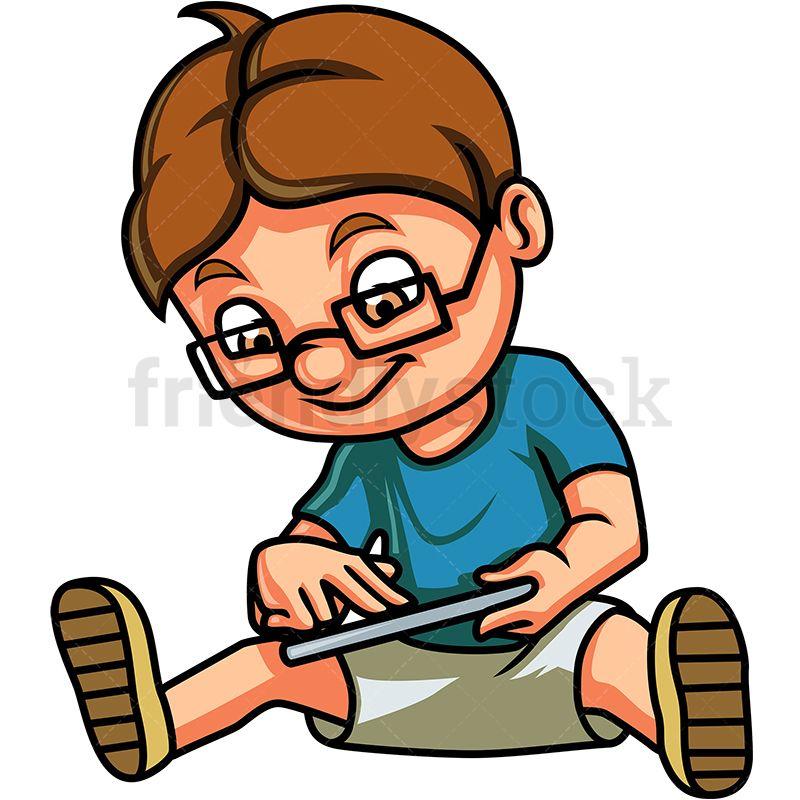 Math nerd. A cartoon math nerd happy and smiling.