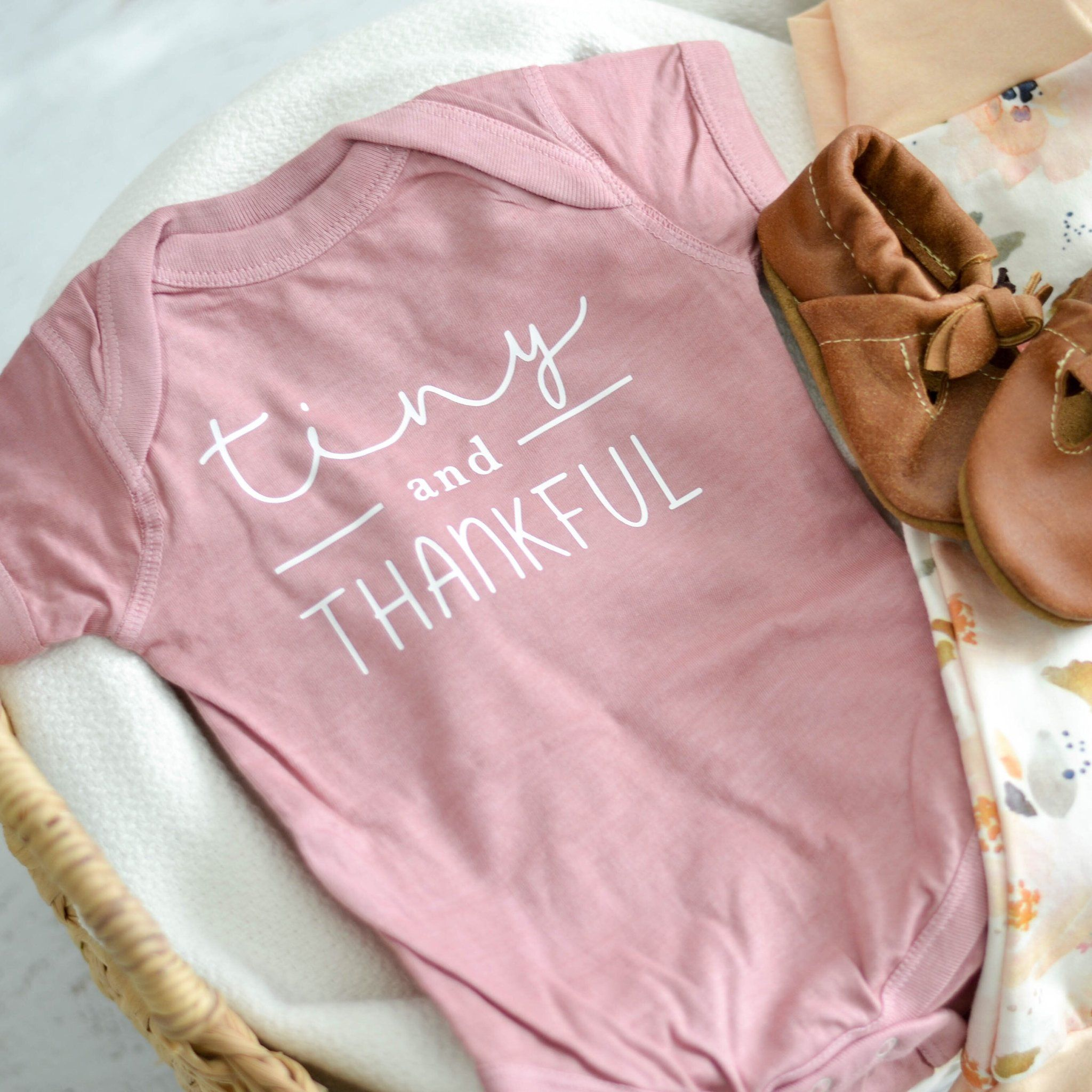 """Tiny and Thankful"""" These shirts are cotton and are hand dyed"""