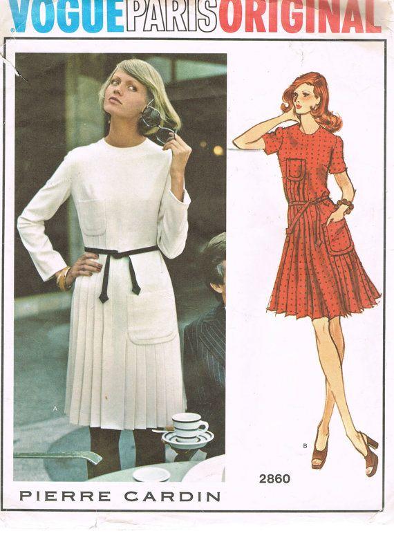 Uncut Pierre Cardin Pleated Dress Vintage Vogue Paris Original Etsy Vogue Paris Vintage Dresses Vintage Dress Sewing Patterns