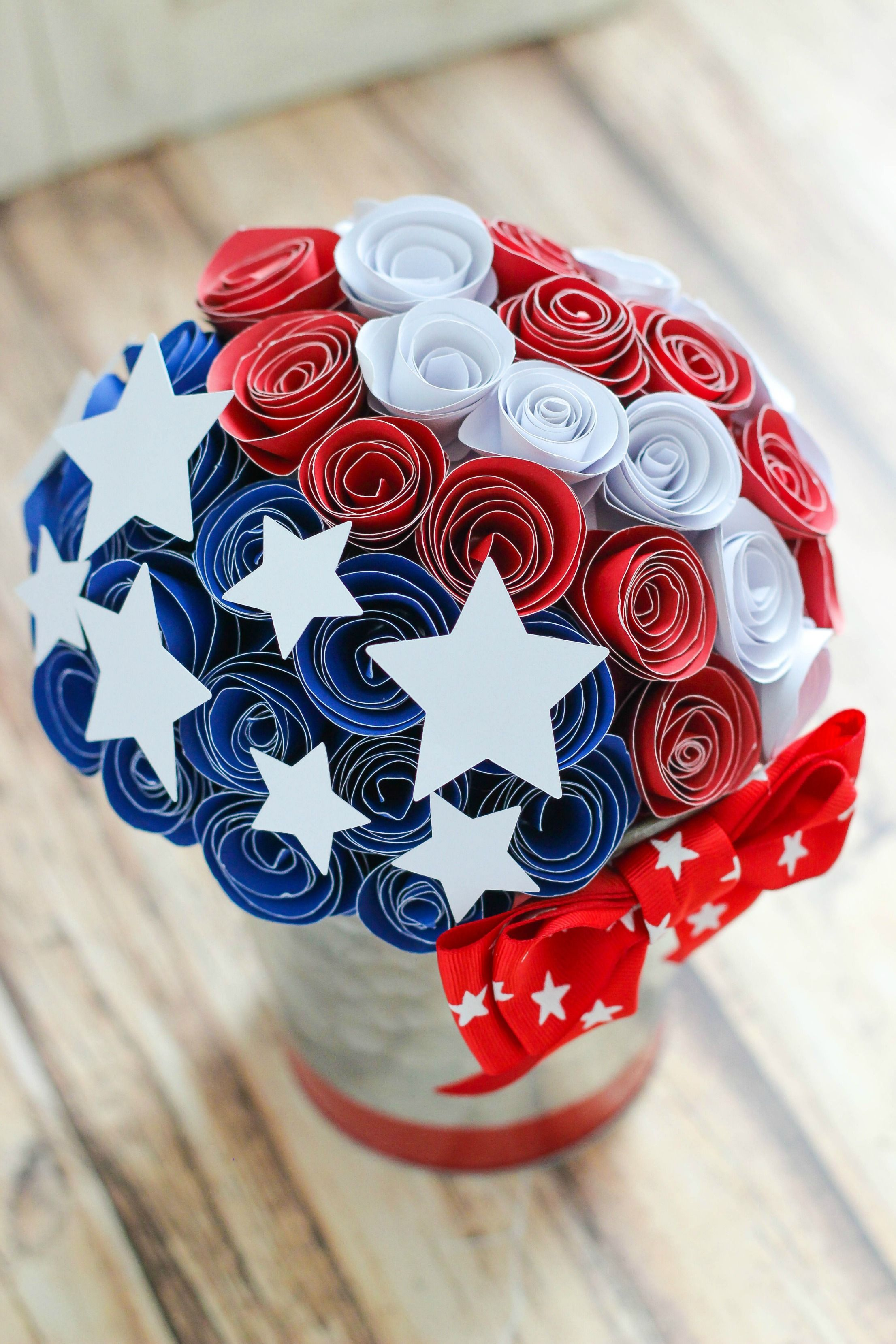 Red white and blue paper flower centerpiece paper flower create this red white and blue paper flower centerpiece with inexpensive supplies and easy steps mightylinksfo Choice Image