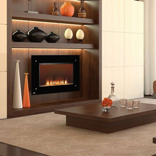 modern electric fireplace wood surround living room interior ideas open shelves
