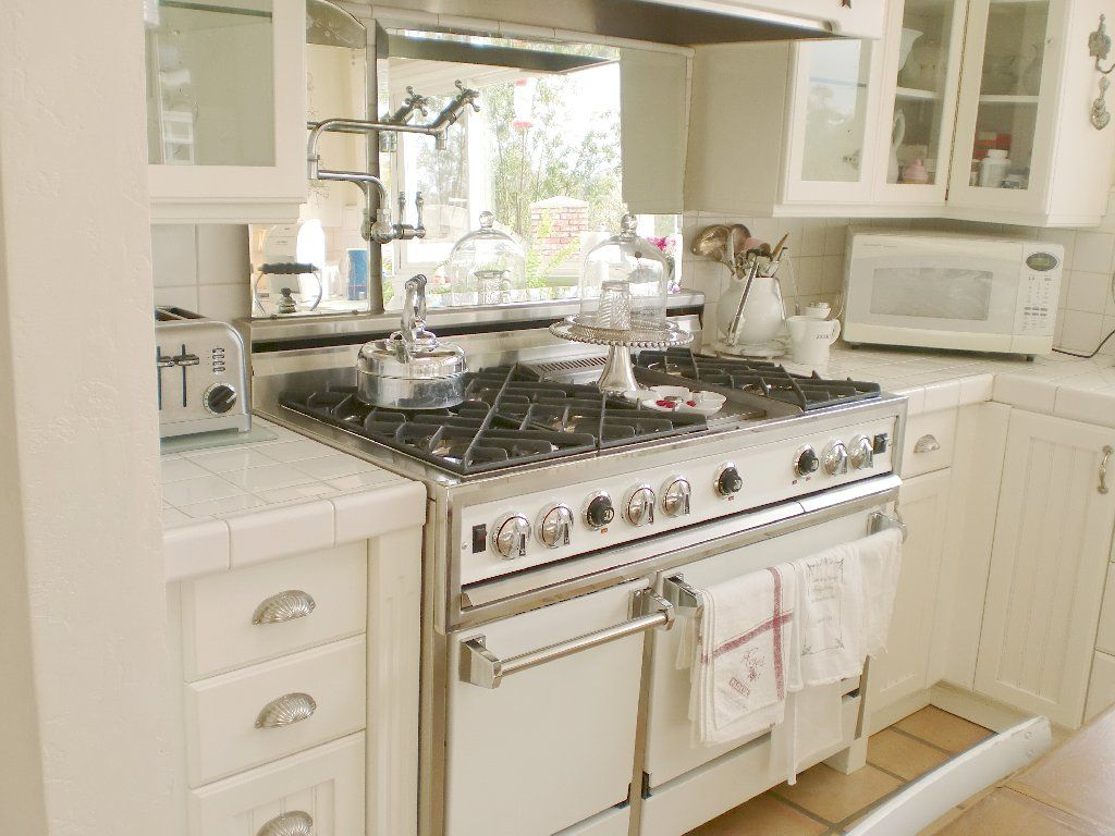 Small White Kitchen Designs Vintage White Kitchen White Ironstone Cottage Mirror Behind