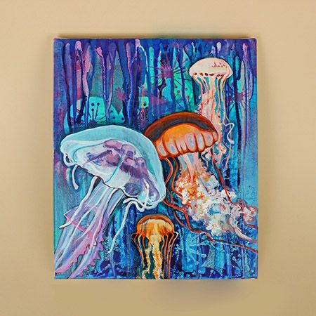 Painting on canvas with Golden High Flow acrylic / Peinture sur ...