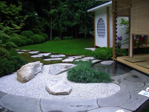 vorgarten mit steine und pflanzen – nomadx,