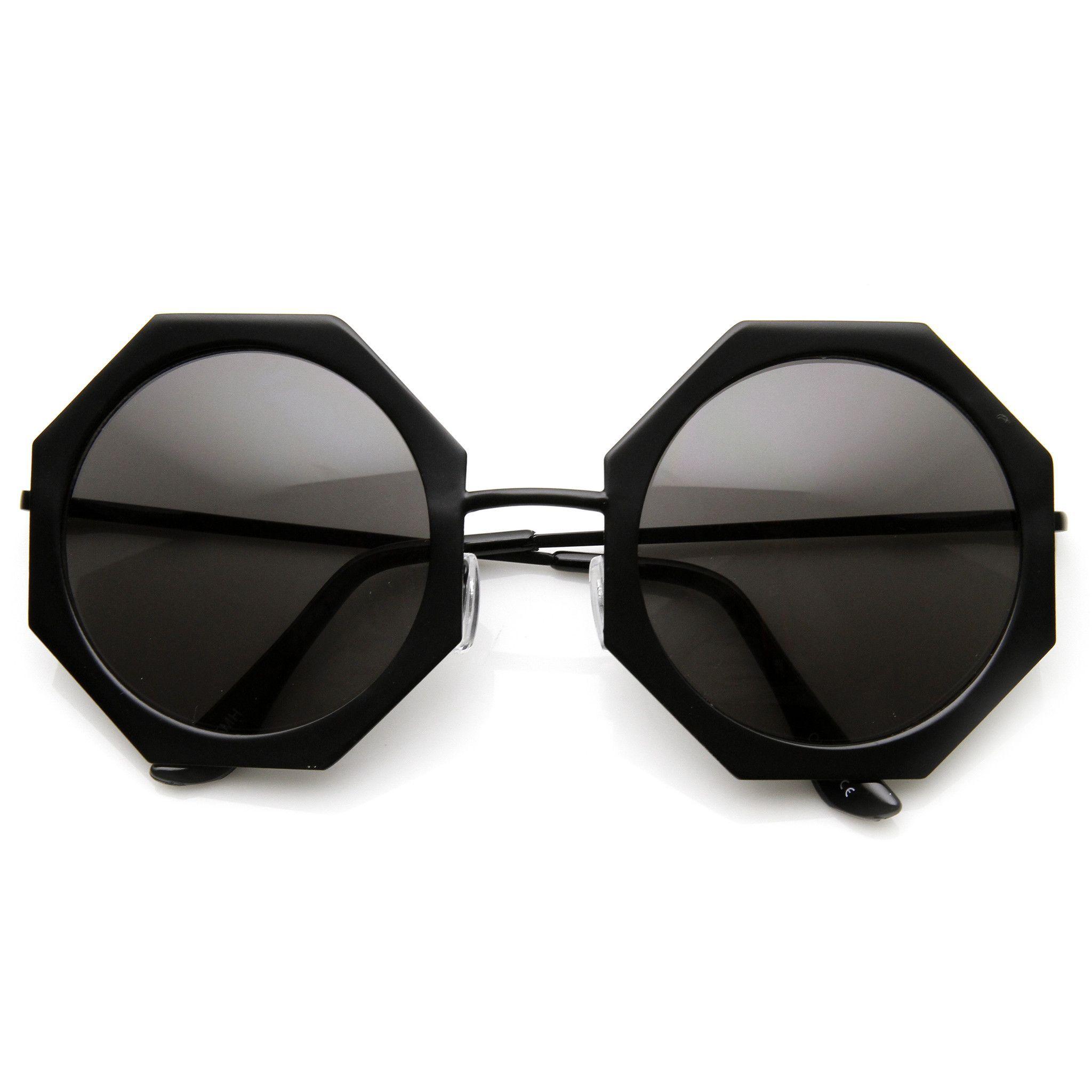 ba22af10172 Womens Oversize Metal Geometric Octagon Round Sunglasses 9316 ...