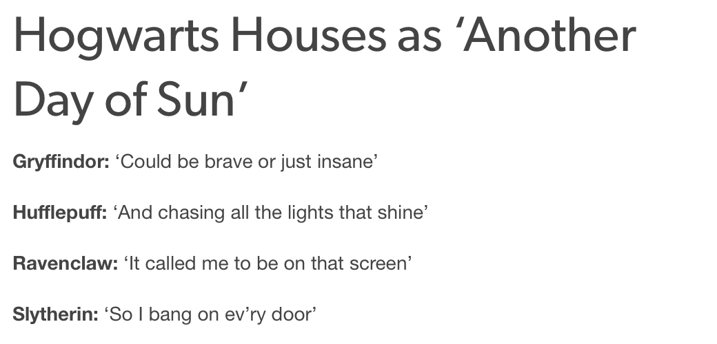 Lyric lyrics for brave : Hogwarts houses classified as lyrics from 'Another Day of Sun ...