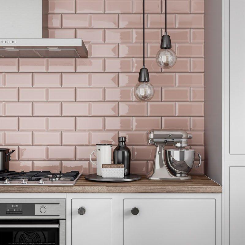 Metro Subway Blush Pink Bevelled Gloss Wall Tile 100mm X 200mm Kitchen Wall Tiles Pink Kitchen Walls Pink Kitchen