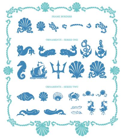 海デザインパーツ飾り罫フレーム ベクターイラスト素材 笔刷素材
