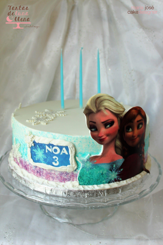 Tarta Frozen pintada a mano Hand Painted Frozen cake www.tartasdelunallena.blogspot.com
