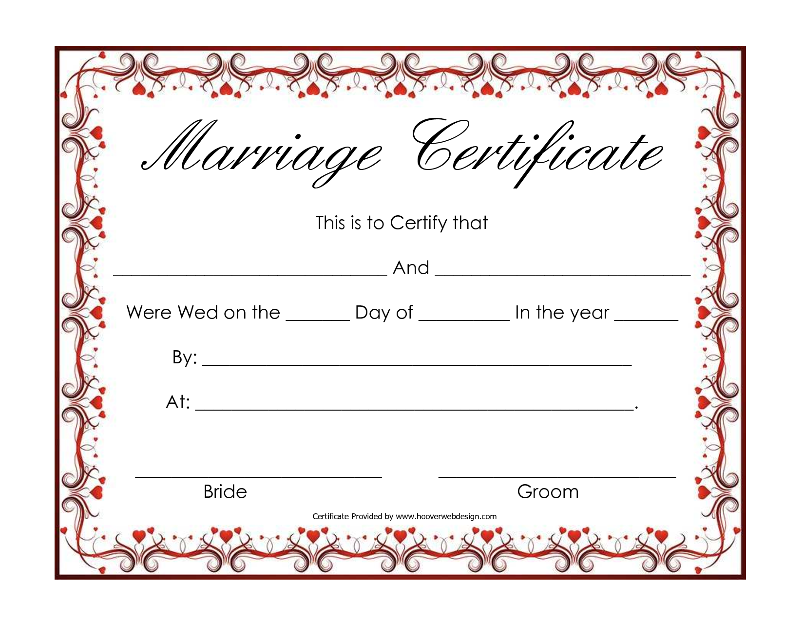 Free Blank Marriage Certificates  Printable Marriage Certificate