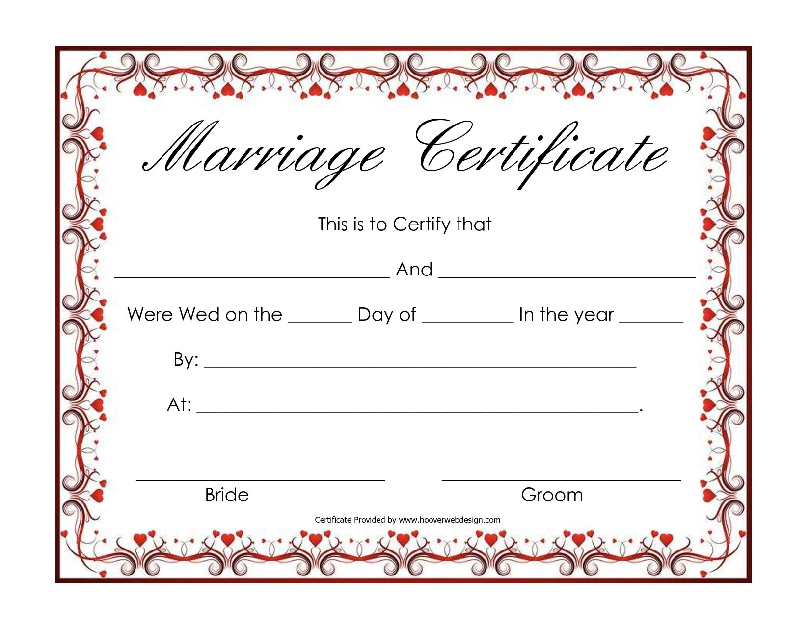 blank marriage certificates printable