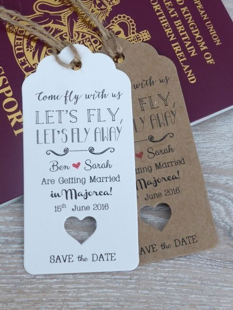 122ef8ac7 Save The Date For Wedding Abroad Invitation with Envelope Personalised RSVP